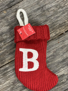 Red Initial Mini Stocking 7""