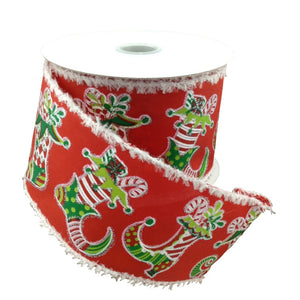 Red Satin Ribbon With Elf Boots 2.5 Inch 10 Yard Roll