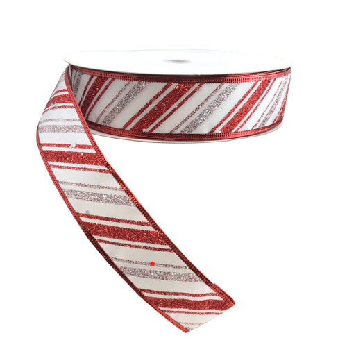 1.5 Inch x 50YD White Linen With Silver & Red Glitter Diagonal Striped Ribbon