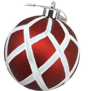 Glitter and Matte Red Harlequin Ball Ornament
