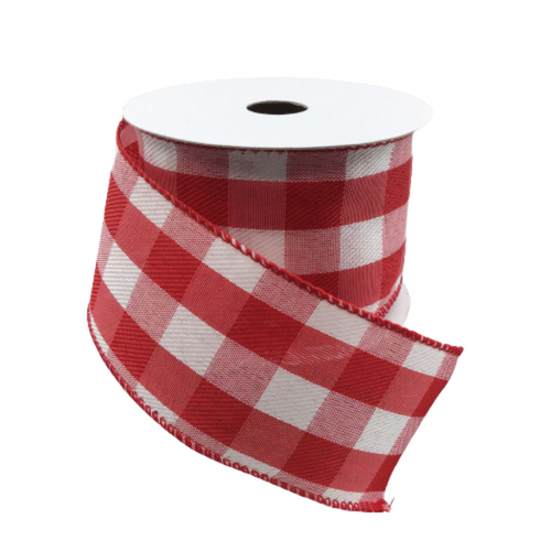 2.5 In x 10 Yard Red & White Buffalo Plaid Ribbon