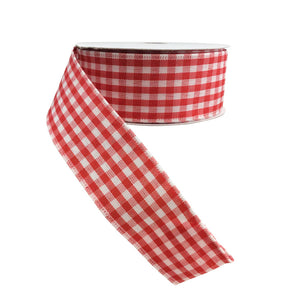 1.5 In x 10 Yard Red White Gingham Check Wired Ribbon