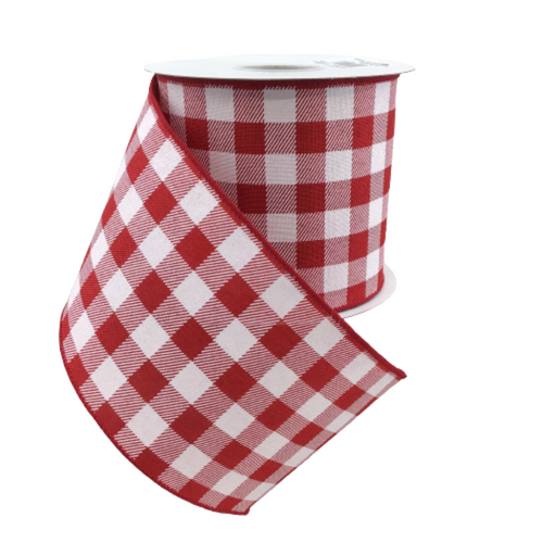 White And Red Gingham Print 4 Inch Wired Ribbon