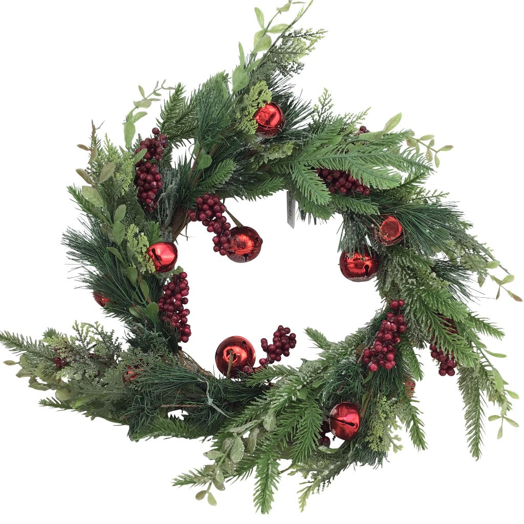 Berry, Pine, and Jingle Bells Wreath - 24 Inch