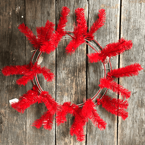 24 in. Pine Work Wreath - Red
