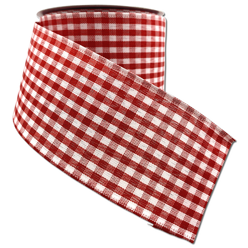 Red And White Gingham Check 2.5 Inch x 10 Yard Ribbon