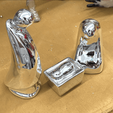 Reflective Silver Nativity Family - Set of 3