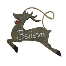 Wooden Reindeer And Sleigh Ornaments