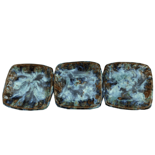 Renaissance Small Square Ceramic Coasters - Set of 3