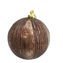 Ribbed Faux Metal Ball Ornament - Coffee