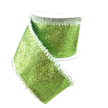 Ribbon Lime Glitter With White Snow Edge 2.5 Inch 10 Yard Roll
