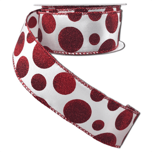 Ribbon White Satin With Dark Red Ombre Glitter Dots 1.5 Inch 10 Yard Roll