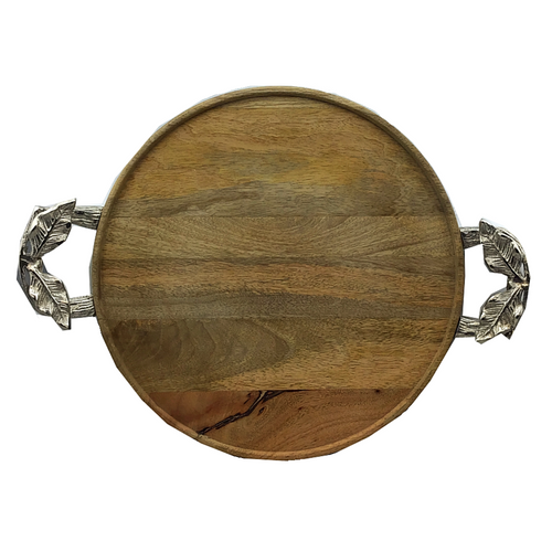 Round Wooden Tray w/ Metal Handles - Two Sizes