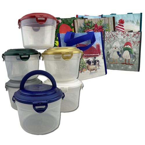 LocknLock Set of 6 Circular Containers & Christmas Bags