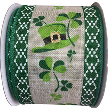 Natural Linen with Saint Patrick's Fun Wired Ribbon