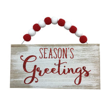 Wood Holiday Hanging Sign With PomPoms- 3 Assorted