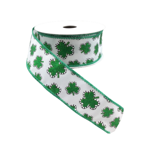 1.5 In x 10 Yard White Satin Glitter Shamrocks Ribbon