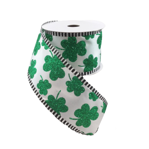 2.5 In x 10 Yard White Satin Green Glitter Shamrock Ribbon