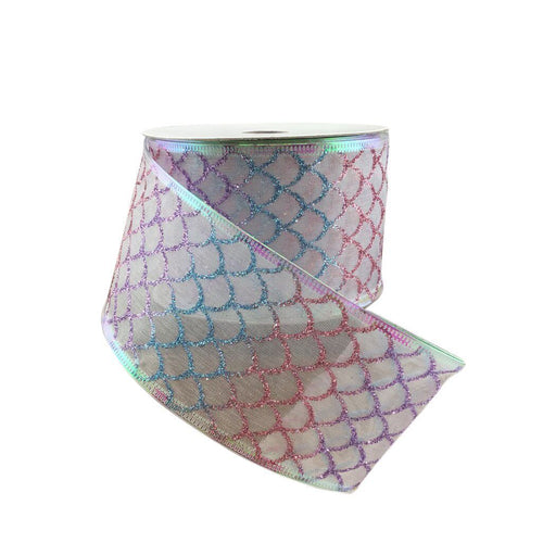 Sheer Glitter Mermaid Inspired Fish Scale Ribbon