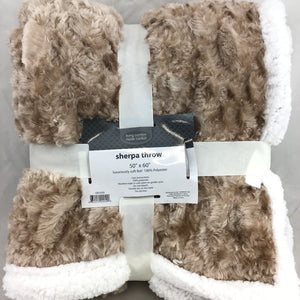 Living Comfort Textured Solid Sherpa Throw