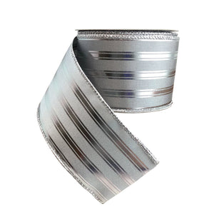 Silver Ribbon With Shiny Silver Stripes 2.5 Inch Wired Ribbon
