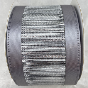 Silver Satin with Metallic Center 2.5 Inch x 10 Yard Ribbon