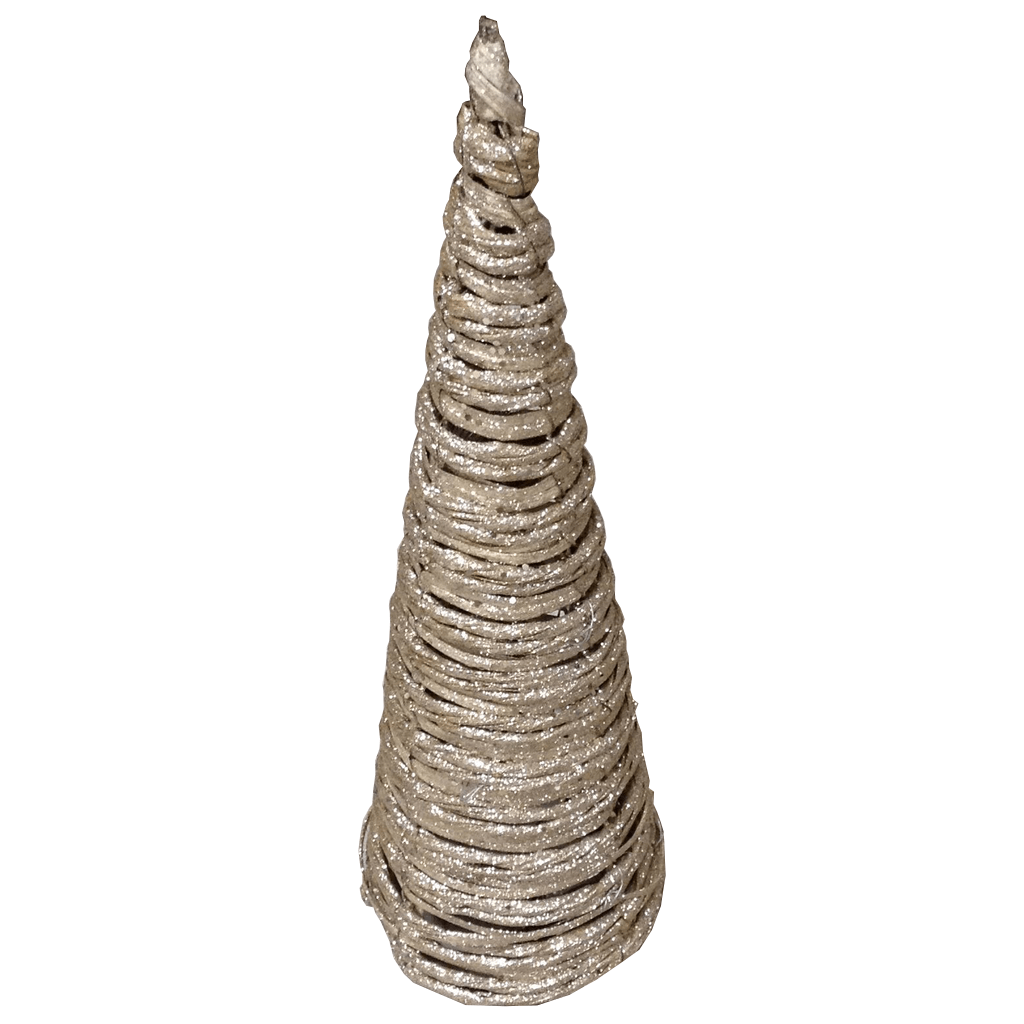 Small Champage And Natural Glitter Cone Tree 16 Inch Lighted