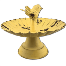 Small Metal Yellow Bird Feeder With Bird