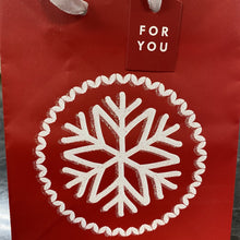 Petite Red Christmas Gift Bag with Glitter Snowflake