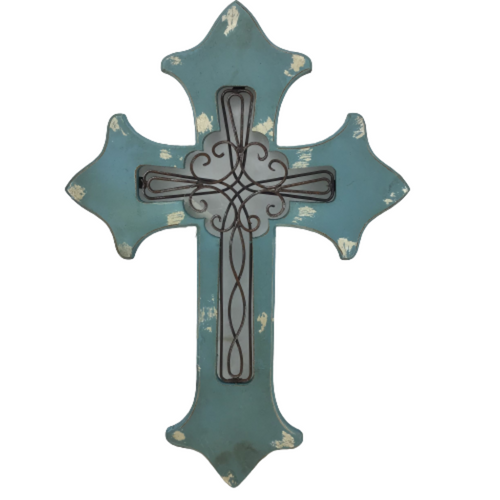 20 Inch Smokey Blue Wood And Metal Cross