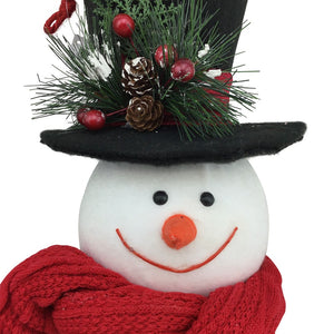 9 Inch Snowman Head Ornament with Red Scarf