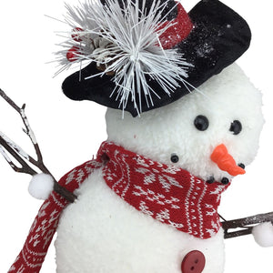 16 Inch Standing Snowman with Scarf and Black Top hat