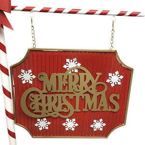 Solar Metal Lighted Merry Christmas Sign