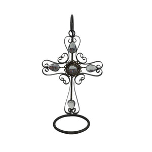 "10"" Metal Gem Cross With Stand"