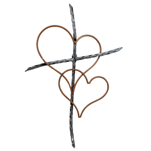 Iron Stick Cross With Hearts