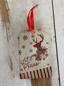 Let It Snow Deer Tag Ornament