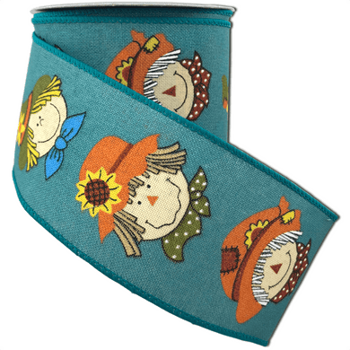 Teal Linen Ribbon With Fun Scarecrow Faces 2.5 Inch 10 Yard Roll