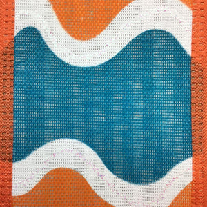 Teal White  Orange Wavy Striped Ribbon