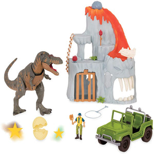 Terra by Battat - T-Rex Big Playset– Electronic Tyrannosaurus Rex Dinosaur Lava Mountain Set