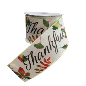 "White Linen ""Thankful"" Ribbon with Leaves"