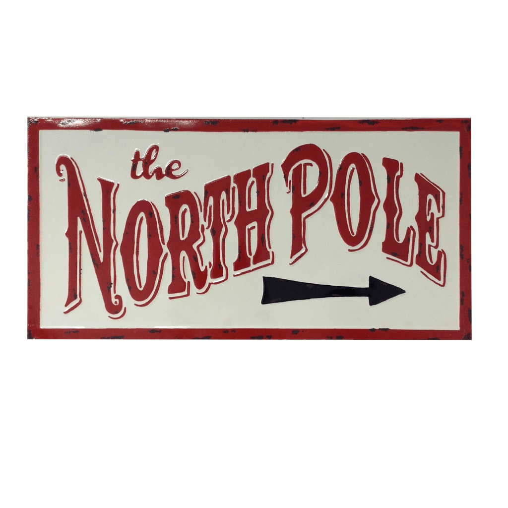 The North Pole White Enamel Wall Sign