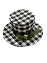 Top Hat Ornament Buffalo Plaid 10 Inch In 2 Color Styles