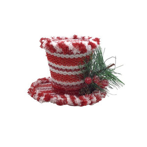 4 Inch Red and White Striped Top Hat Ornament