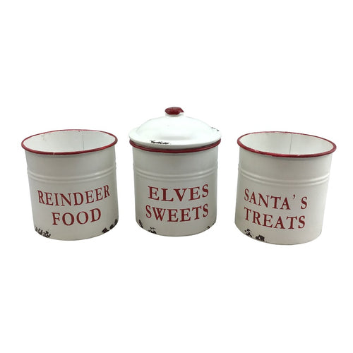 Enamel Treat Container With Lid- 3 Assorted