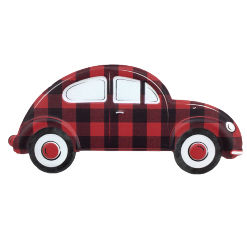 Embossed Red And Black Checked Vintage Bug