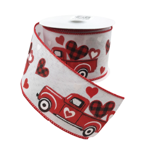 2.5 In x 10 Yard White Linen Red Vintage Truck with Valentine's Hearts Ribbon
