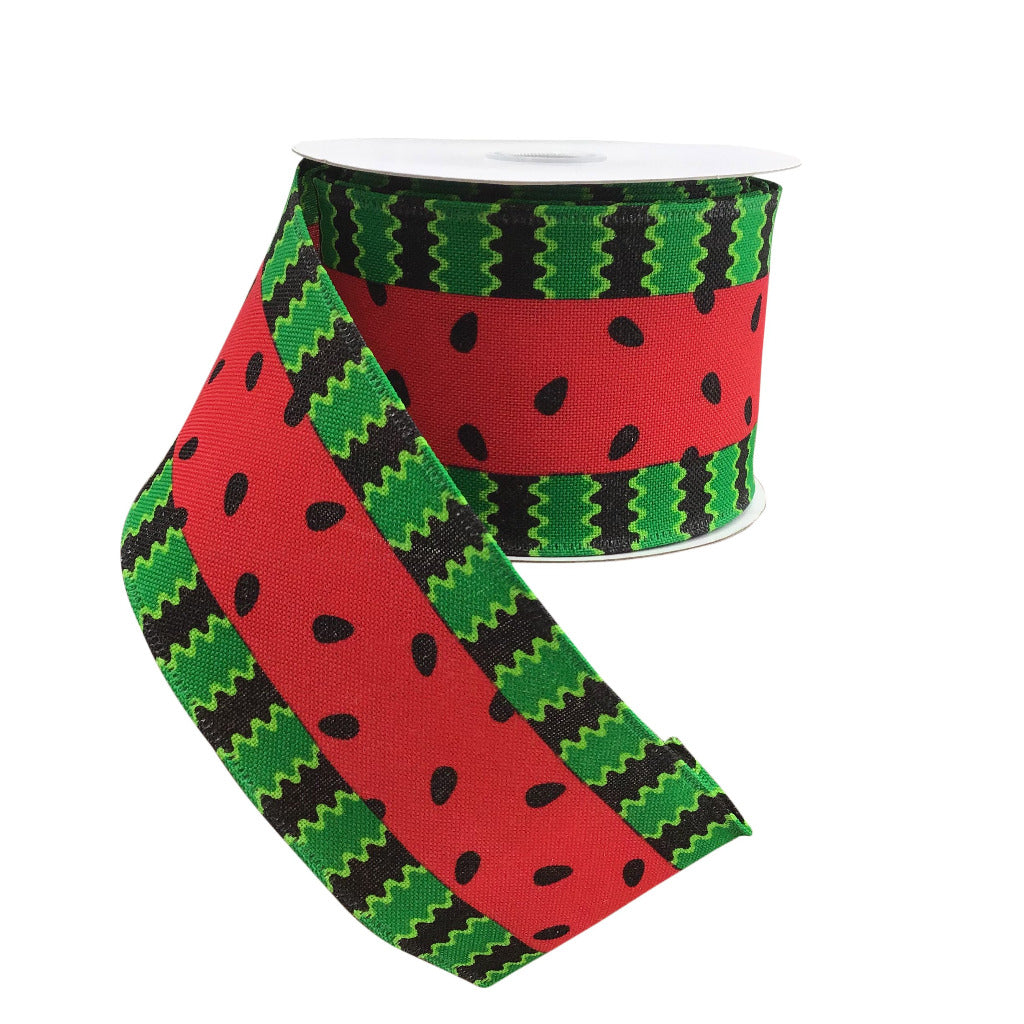 Watermelon Wired Ribbon With Red Middle And Wave Stripes