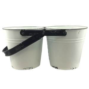 White Enamel 2-Pot Planter - Set of 2