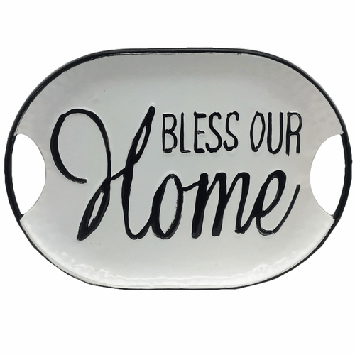 White Enamel Word Trays - Set of 3