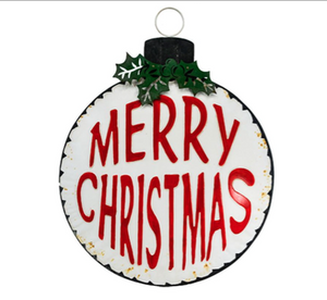 White Jumbo Merry Christmas Metal  Ornament
